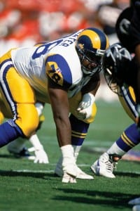 ANAHEIM, CA - OCTOBER 4: Jackie Slater #78 of the Los Angeles Rams gets into position during a NFL game against the Atlanta Falcons at Anaheim Stadium on October 4, 1994 in Anaheim, California. The Falcons defeated the Rams 8-5. (Photo by Al Bello/Getty Images)