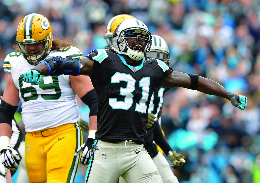 CHARLOTTE, NC - NOVEMBER 08: Charles Tillman #31 of the Carolina Panthers celebrates after forcing a fumble by the Green Bay Packers during their game at Bank of America Stadium on November 8, 2015 in Charlotte, North Carolina. (Photo by Grant Halverson/Getty Images)