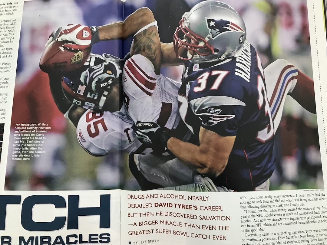 """David Tyree makes """"The Catch"""" in Super Bowl XLII against the Patriots.  (Photo Courtesy: Sports Spectrum Magazine - Fall 2008)"""